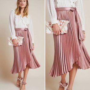 Anthro Maeve Paulina Pleated Metallic Satin Skirt